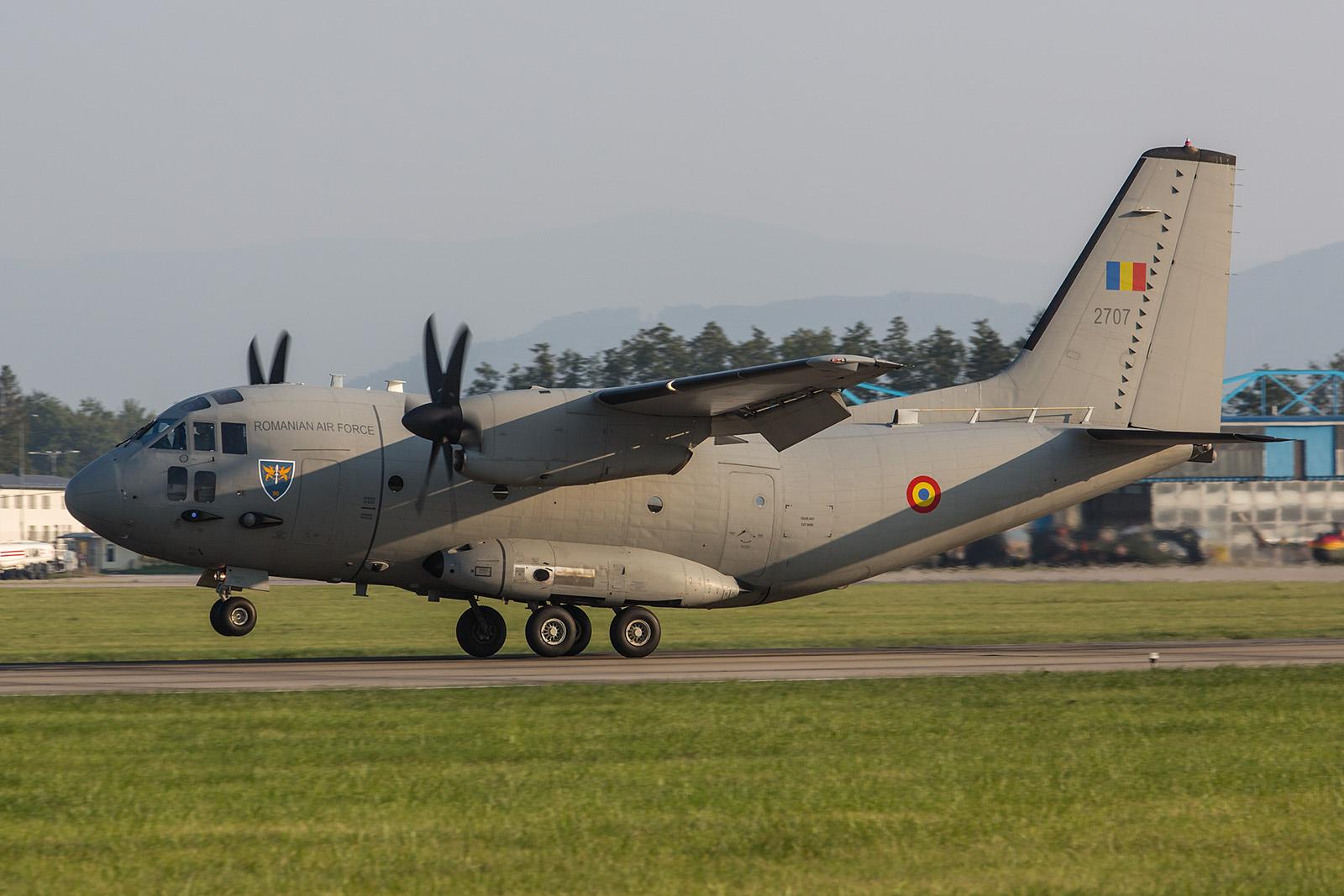 Der Support für die MiG´s kam mit dieser C-27J aus Bucarest-Otopeni.