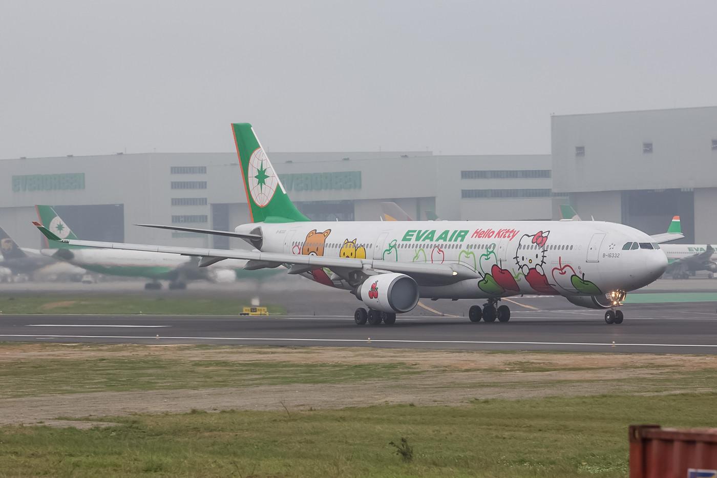 Hello Kitty Motive sind in Taiwan und den umliegenden Ländern sehr populär. Insgesamt sechs Maschinen der Eva Airways haben entsprechende Motive und kommen vorwiegend innerhalb Asiens zum Einsatz.