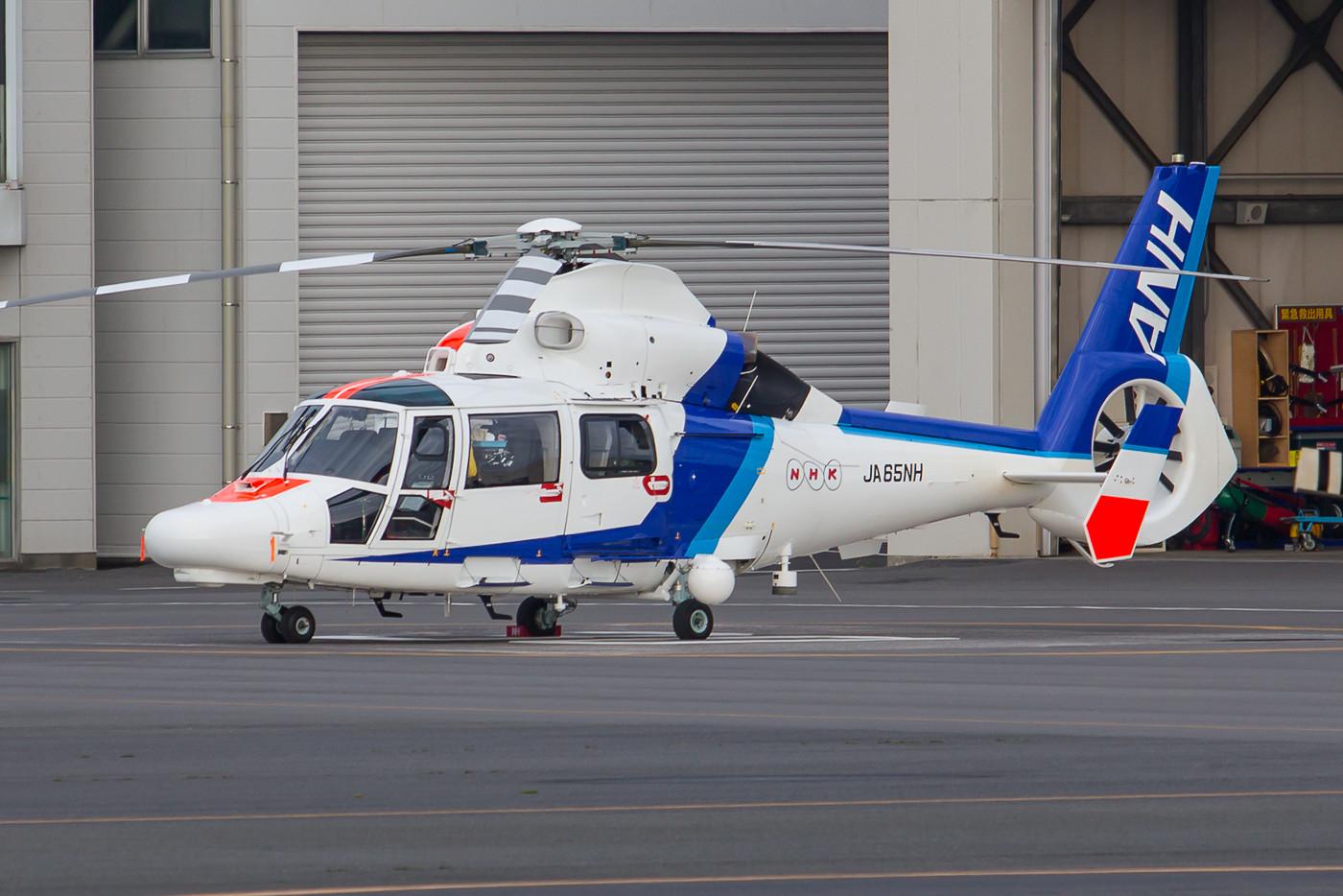 AS-365 N3 der ANH, sie ist mit Kaeras bestückt und fliegt für den japanischen Fernsehsender NHK.