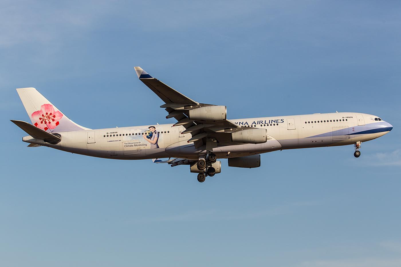 So langsam werden auch die A340 seltener, hier eine Maschine der China Airlines.