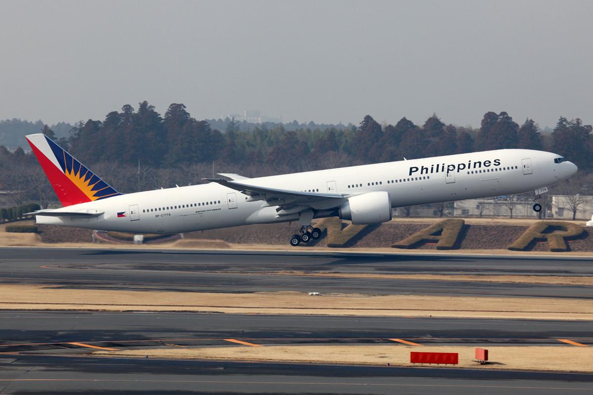Eine schöne Überraschung war die Boeing 777-300 der Philippines Air.