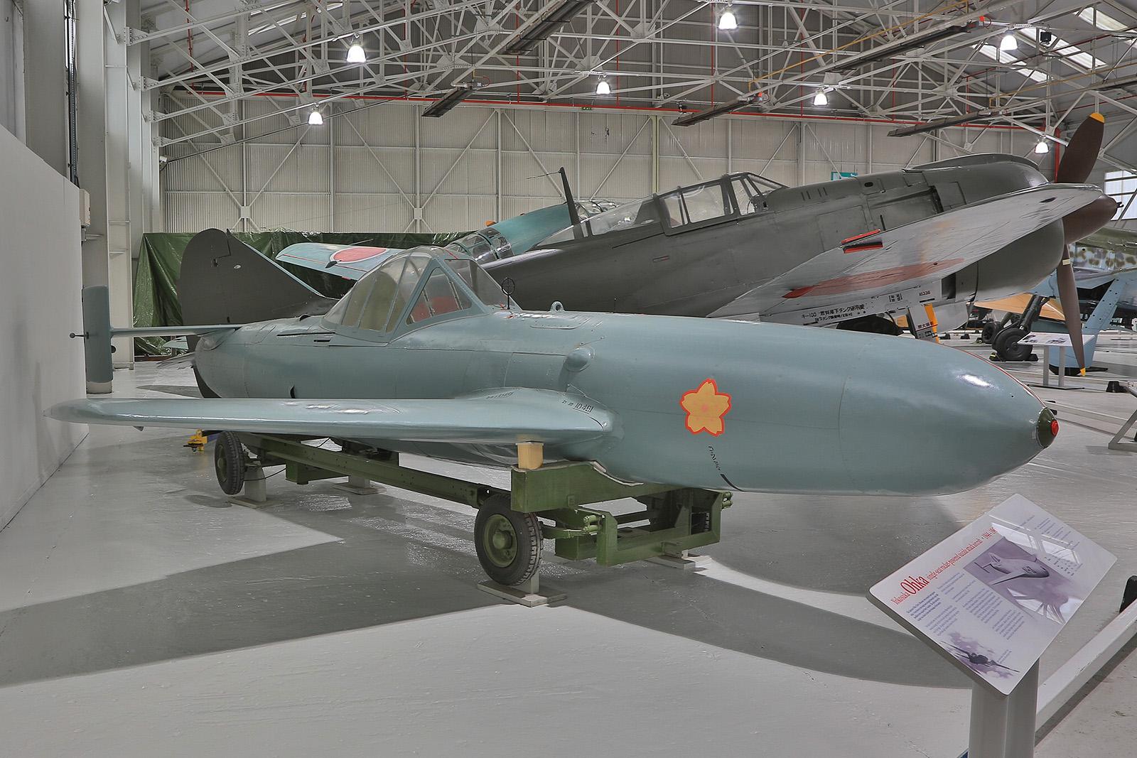 Die bemannte Bombe Yokosuka Ohka der kaiserlichen japanischen Marine. Das Kamikazeflugzeug wurde Kanoya im Süden Kyushus entwickelt.