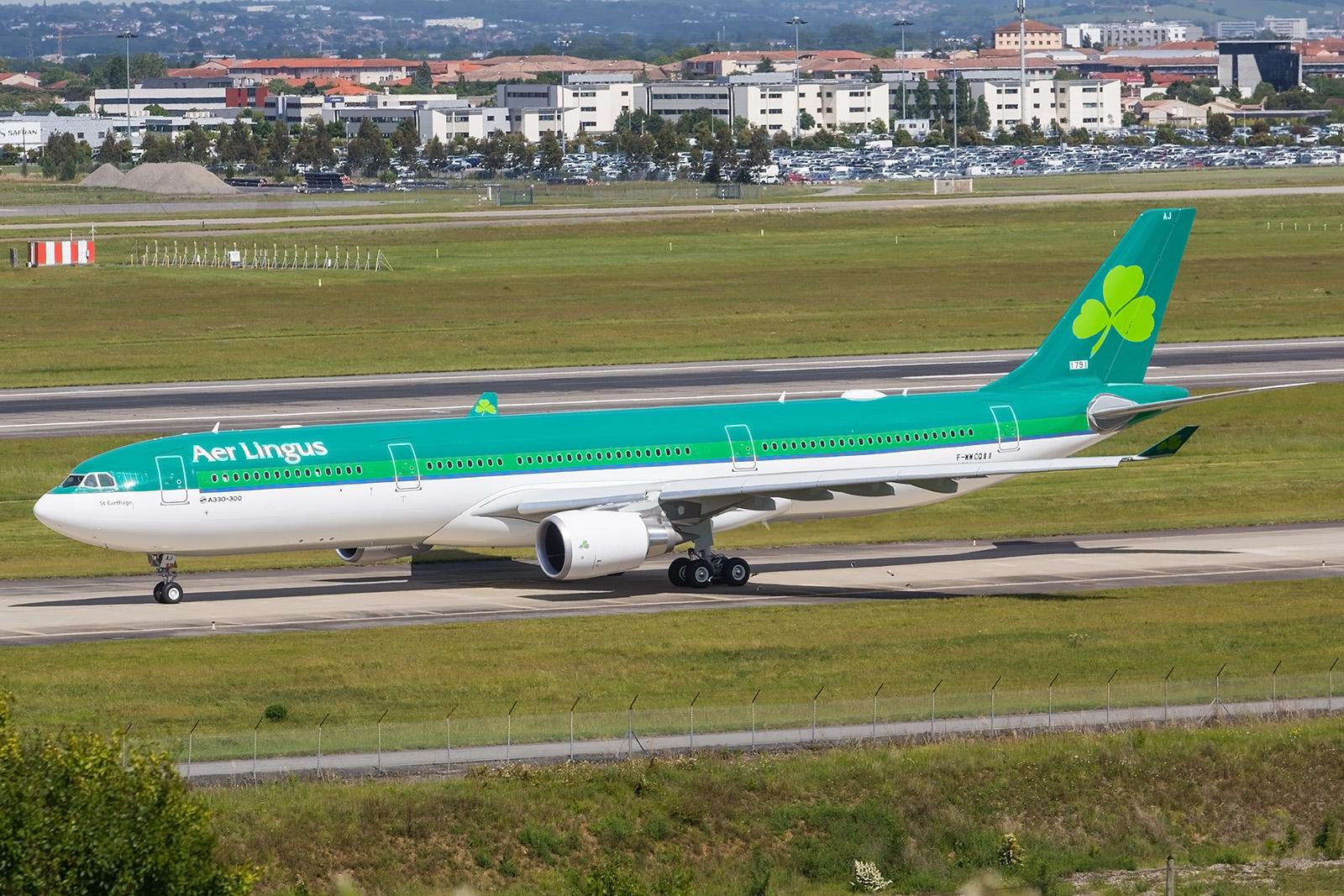 Die EI-GAJ für Aer Lingus auf dem Weg zum Testflug.