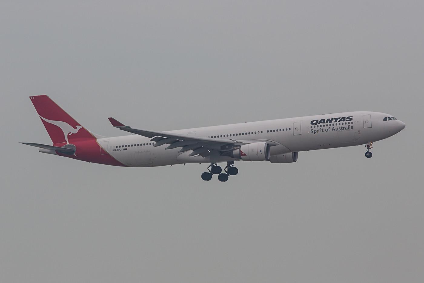 Qantas hingegen ist seit Jahren ohne richtige Sonderbemalung unterwegs. Diese A 330 kam aus Cairns.