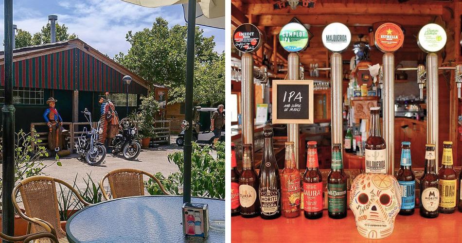 Restaurante vistas de la terraza y surtidores de cerveza