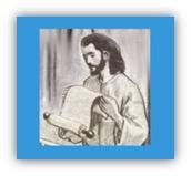 Jezus leest boekrol in synagoge