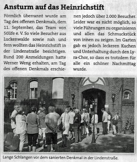So berichtete der Pelikan, das amtliche Mitteilungsblatt der Stadt Luckenwalde über den Tag der offenen Tür am 11.9.2016