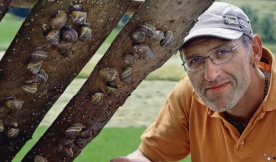 Armin Bähler mit einigen seiner Schnecken, die unter Holzpaletten leben. (Bild: Nana do Carmo)