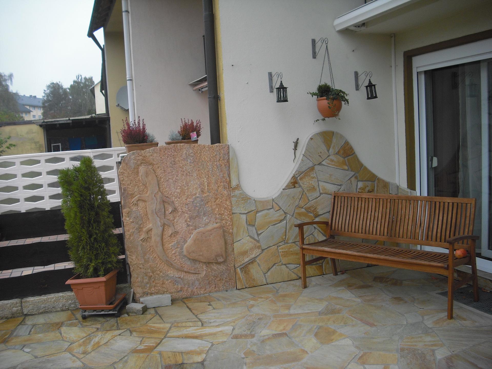 Natursteinterrasse - Natursteinmosaik Verlegung