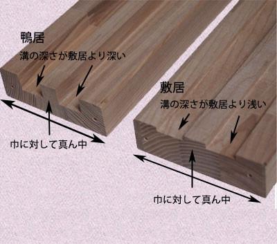 ゴム積層材の鴨居と敷居