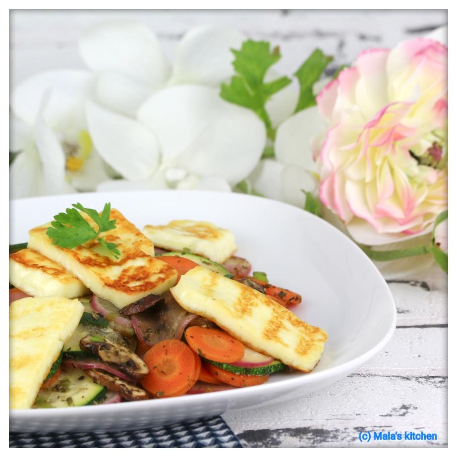Kräuter-Gemüse mit Bratkäse