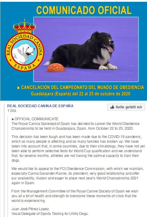 FCI Obedience WM 2020 in Spanien
