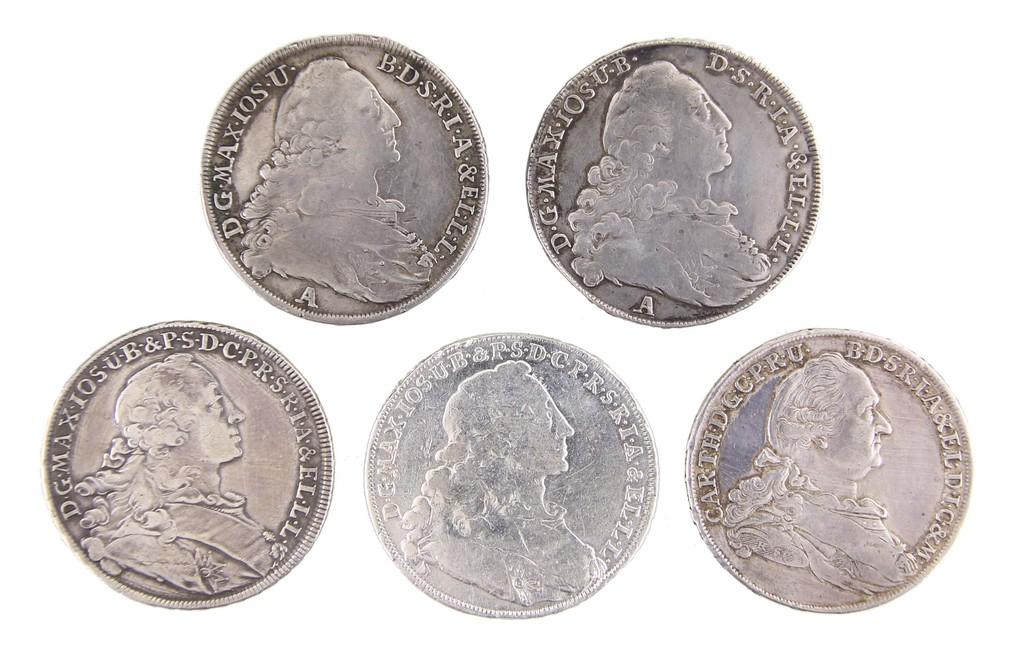 Sammlung Silbermünzen Taler, Bayern1754-1778, Auktionspreis 260 €