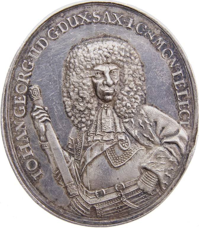 Silbermedaille Sachsen 1677, Johann Georg, sehr selten, Erlös 5300€