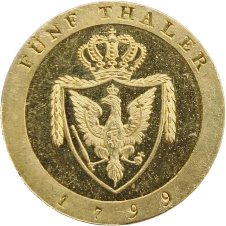 Goldmünze, Friedrich d'or 1799, sehr selten, Auktionsergebnis 17500 €