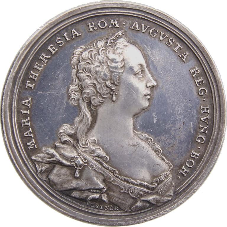Silbermedaille mit Maria Theresia auf den Dresdner Frieden 1745, Ergebnis 520 €