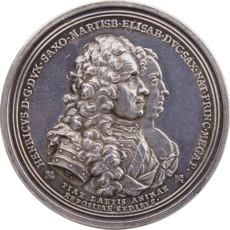 Silbermedaille Sachsen-Merseburg 1738,Sterbemedaille,Erlös 4500 €