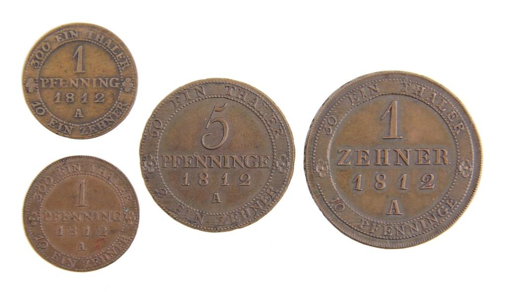 4 Ausgleichsmünzen Kupfer, Preußen 1812, Auktionserlös 3200 Euro