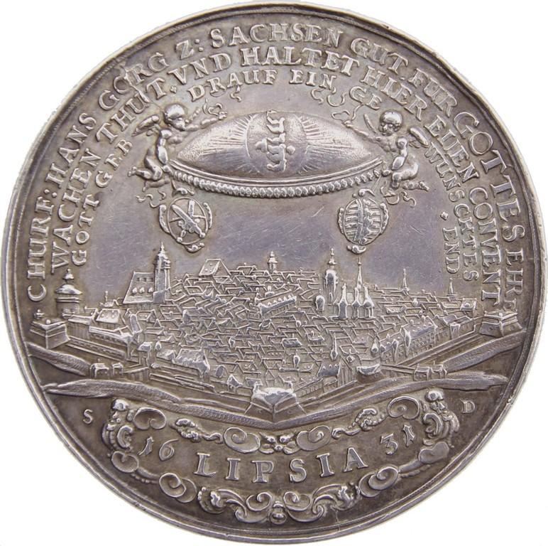 Barocke Silbermedaille auf das Dankfest zur Feier des Westfälischen Friedens, Medailleur Sebastian Dadler 1650, Erlös 920 €