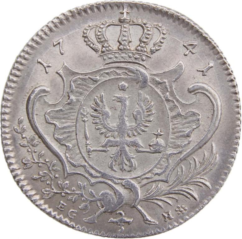 Friedrich der Grosse, 2/3 Silbertaler=Silbergulden Preußen 1741, Erlös 3700€