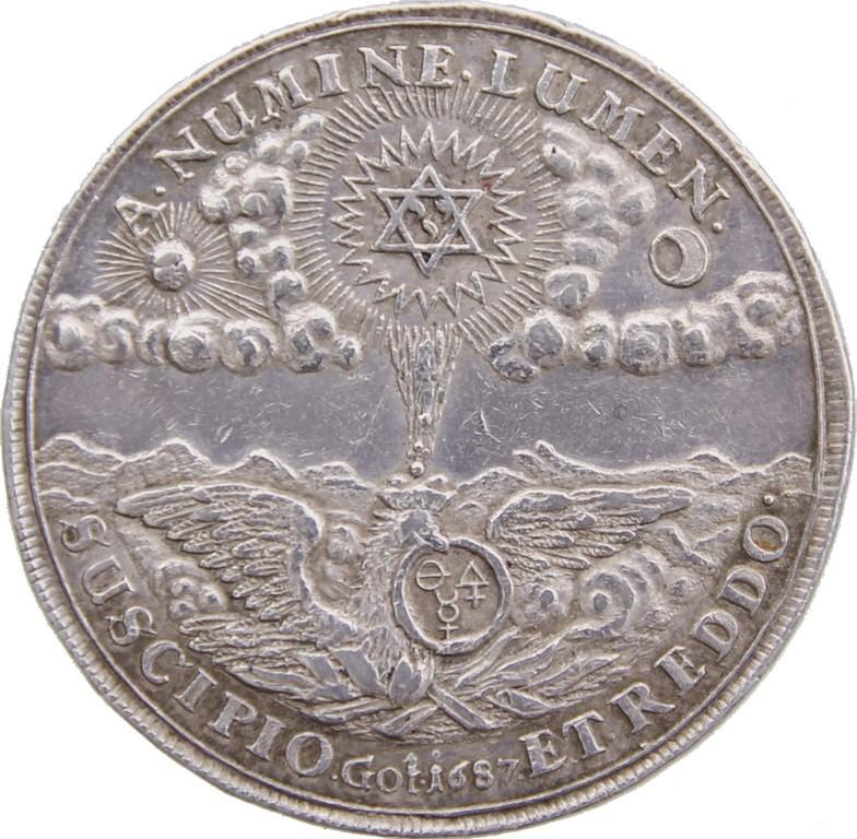 Silbermedaille Sachsen-Gotha-Altenburg 1687,Alchimistentaler,Auktionspreis 2000 €