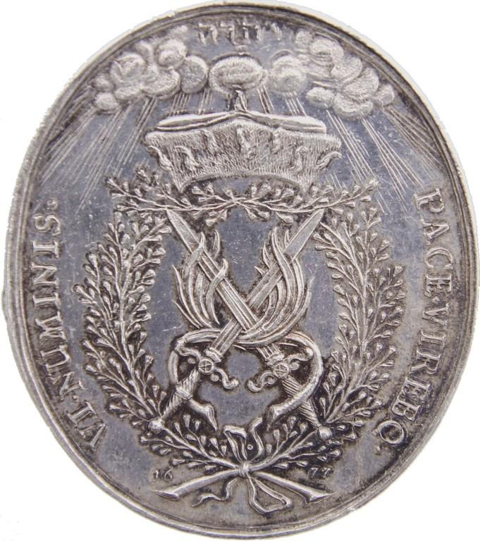 Seltene Silbermedaille Kurfürstentum Sachsen 1677 auf die Neutralität Sachsens im Kriege gegen Frankreich. Erlös 5300 €