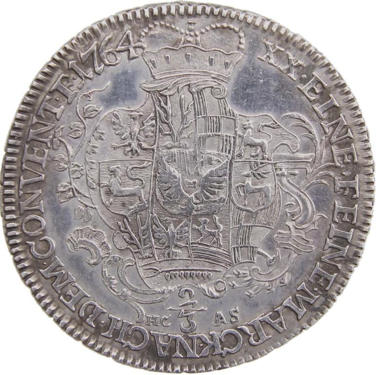 2/3 Silbertaler Schwarzburg-Sonderhausen 1764, Auktionspreis 1400 €