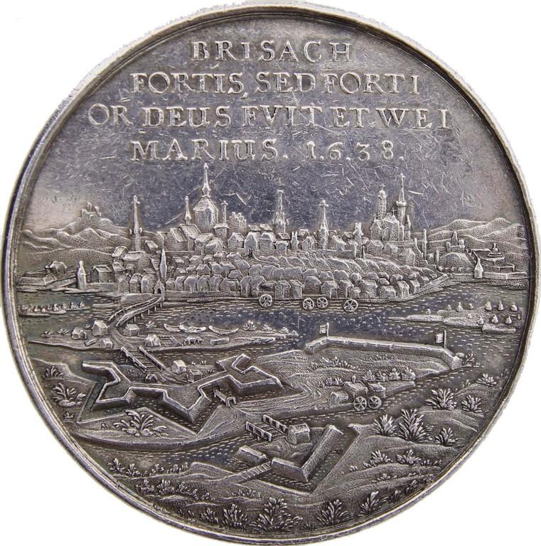 Silbermedaille Sachsen-Weimar 1638,Einnahme v. Breisach, Erlös 2100 €