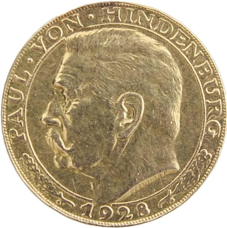 Goldmedaille auf Paul v. Hindenburg, Weimarer Republik 1928, Erlös 120 €