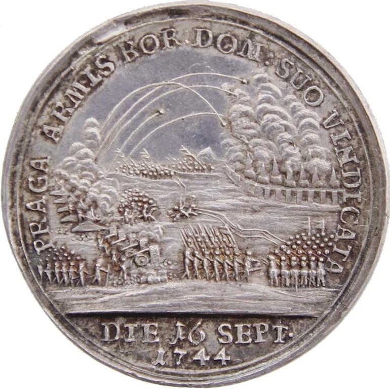 Silbermedaille Preußen 1744, Belagerung v. Prag, Auktionspreis 2500 €