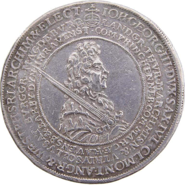 Doppeltaler Silber, Sachsen 1691, 'Sterbetaler', selten, Erlös 5100 €