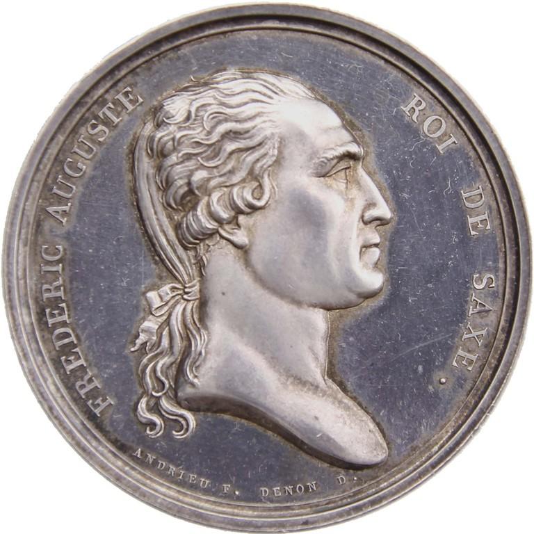 Silbermedaille auf den Besuch des sächsischen Königs Fr. August I. in der Pariser Münze 1809, Auktionspreis 400 €
