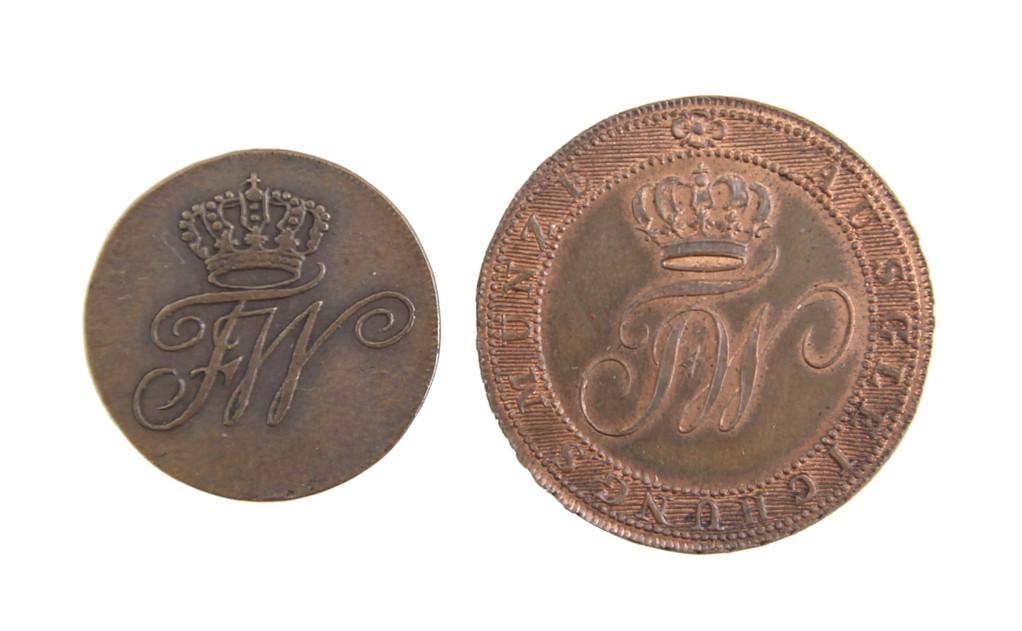 2 Kupfermünzen, Ausgleichsmünzen Preussen 1812, selten, Erlös 9000 Euro