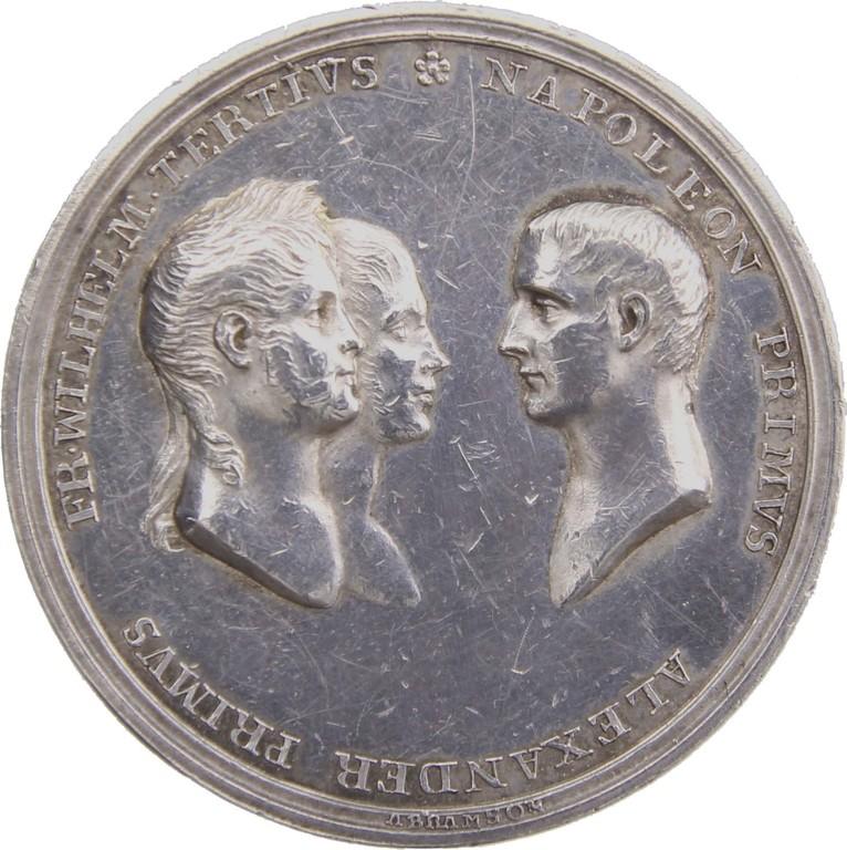 Silbermedaille auf den Frieden von Tilsit 1807, Fr.Wilhelm III. & Napoleon & Zar Alexander I., Auktionspreis 820 €