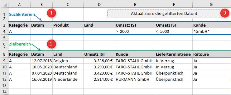 Excel: Erweiterte Filter auf Knopfdruck aktualisieren