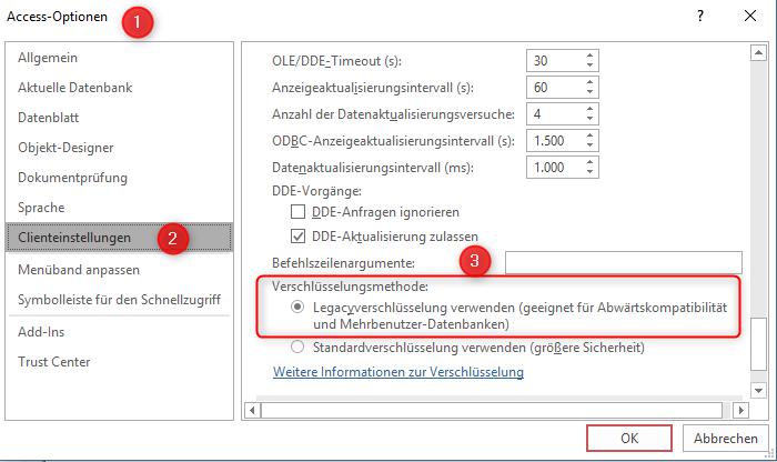 Access - Optionen> Clienteinstellungen> Erweitert> Legacyverschlüsselung verwenden
