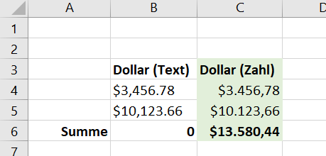 Aus Dollar-Zeichenkette mach Dollar-Wert