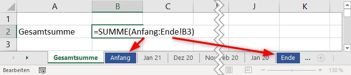 Excel: Die Summe über eine dynamische Anzahl von Tabellenblättern bilden