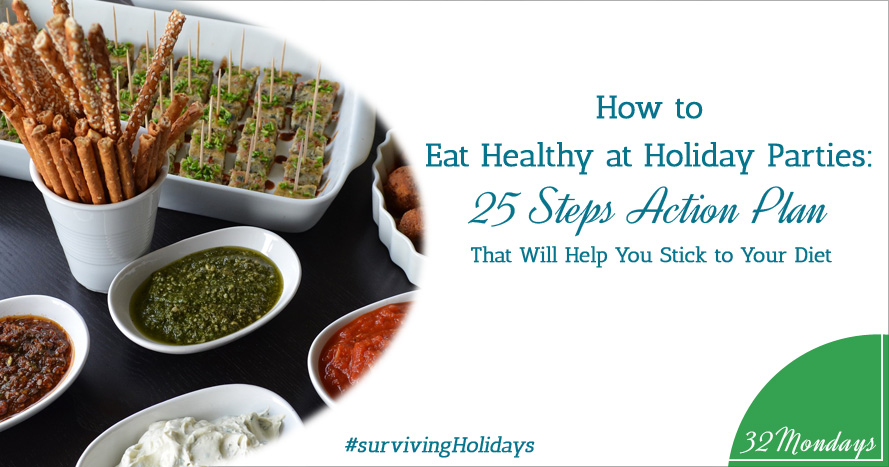 How to eat healthy at holiday parties: 25 steps action plan that will help you stick to your diet