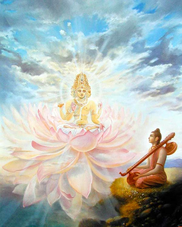 Out of the navel Vishnus a bright shining golden lotos came out. This Lotos is the shelter of all living entities and the first being who came out of it, was the 4-headed Brahma.