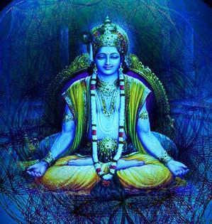 Lord Krishna meditiert über sich Selbst