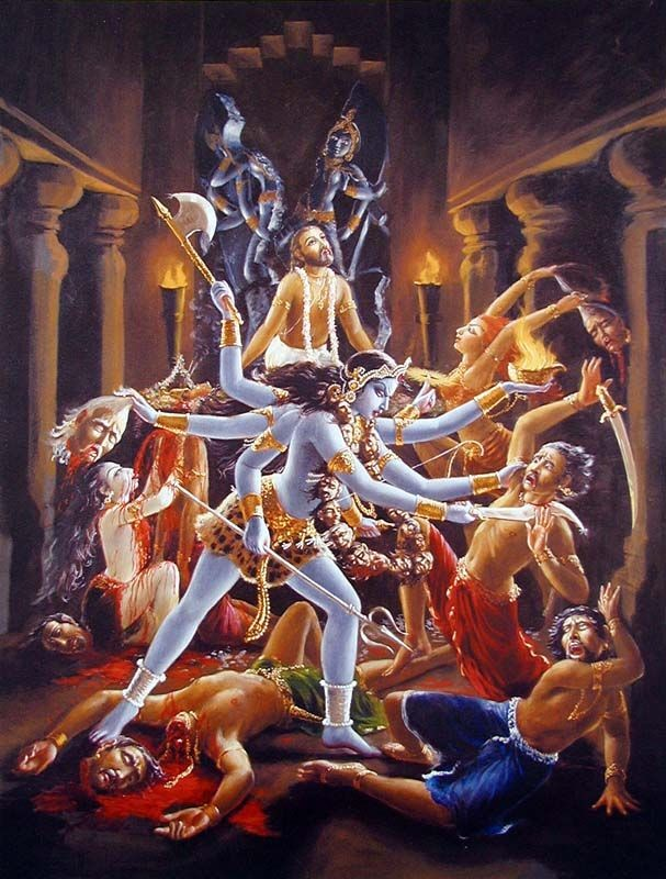Goddess Kali, accompanied by female demons and witches, decapitated and drank the blood of the dacoits who had kidnapped Jada-Bharata - Krishna's pure devotee.