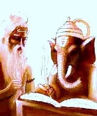 Veda Vyasadeva spricht die Veden zu Ganapati