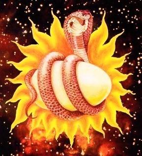 Hiranya Anda ..das Goldene Ei des Universums...getragen von Ananta Shesha Naga - der Kosmischen Schlange