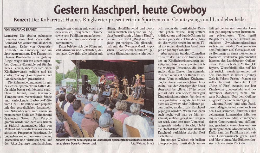 Presseartikel: Hannes Ringlstetter im Landsberger Tagblatt