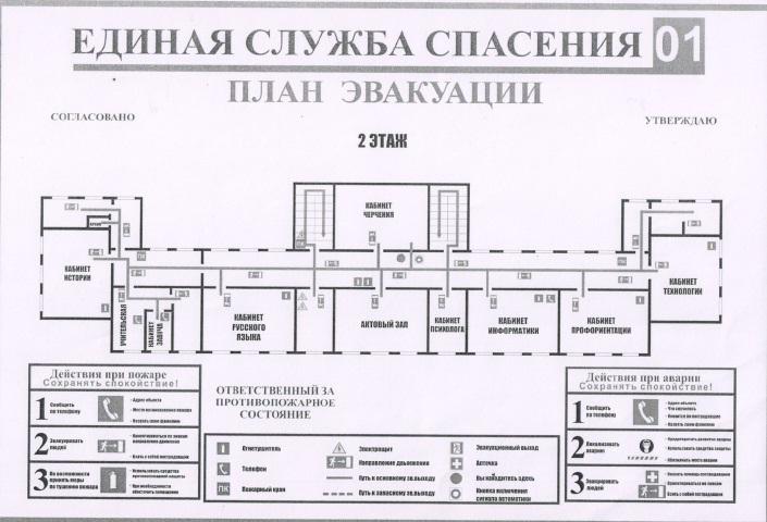 План эвакуации из второго здания (начальная школа) 2 этаж
