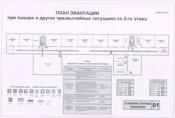 План эвакуации из основного здания школы 2 этаж