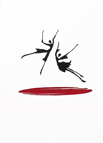 Linoldruck - Ich lobe den Tanz von der Künstlerin Claudia König