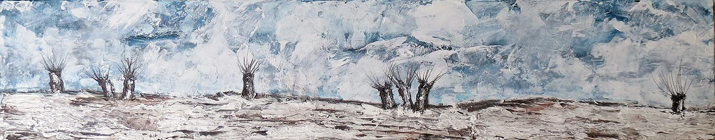 Winterlandschaft mit Kopfweiden - Acryl-Mischtechnik auf Leinwand - 100 x 20 x 2 cm - 2017