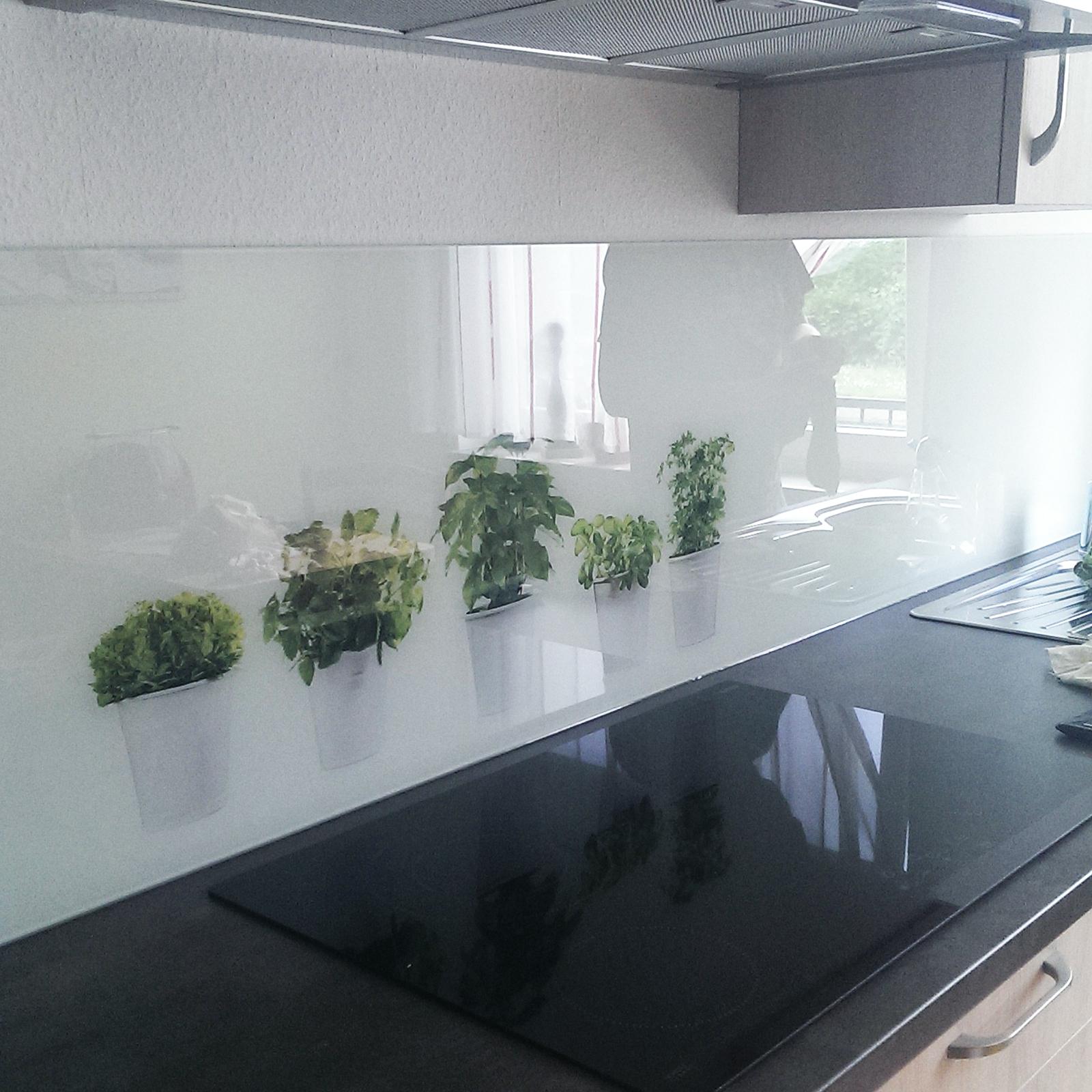 Küchenrückwand mit rückseitigem Siebdruck